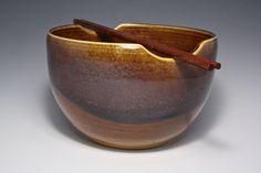 Ceramic Noodle Bowl Rice Bowl Brown Blue by CeciCapenClayStudio