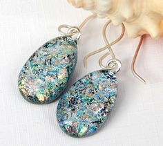 Silvery Pastel Rainbow Dichroic Glass Drop Earrings on 925 Sterling Silver Earwires - Fused Glass Jewelry - Art Glass Dangle Earrings by TremoughGlass on Etsy https://www.etsy.com/listing/271696294/silvery-pastel-rainbow-dichroic-glass