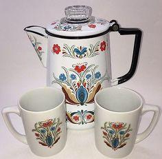 Vintage Berggren Mid Century Folk Art Enamelware Percolator Coffee Pot And Mugs  | eBay