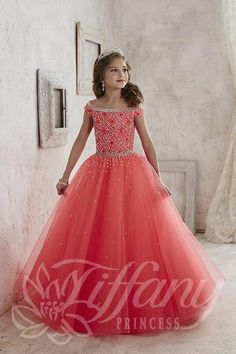 Little Girls Pageant Dress Tiffany 13458 Hot Coral Size 6,12
