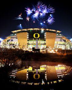 Oregon: Autzen Stadium With Fireworks Picture at Oregon Ducks Photos