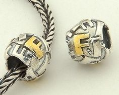 CLLE03SF 925 Sterling Silver Alphabet letter F Pandora Charms beads Pandora Letters