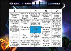 Doctor Who Bingo. This WILL be played.