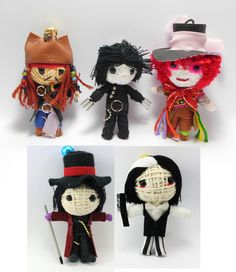 Johnny Depp Set 5 dolls Voodoo String Doll Keychain Jack Sparrow, Mad Hatter, Edward Scissor Hands, Willy Wonka, Sweeney Todd on Etsy, $25.99