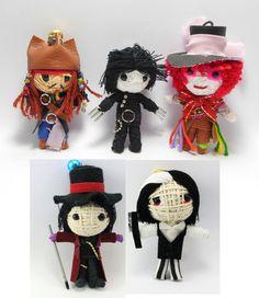 Johnny Depp Set 5 dolls Voodoo String Doll Keychain Jack Sparrow, Mad Hatter, Edward Scissor Hands, Willy Wonka, Sweeney Todd