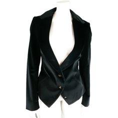 Pre-owned Vivienne Westwood Red Label Size 8 Velvet Notch Lapel Jacket Black Bla
