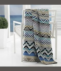 "♚ TravelEst Hub™ ♚- Beach Towel Oversized Kassatex Organic Cotton 40"" X 70"" Mistral Chevron Tan Blue Plum Sand - Visit to see more options"