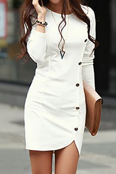 Casual O neck Long Sleeve White Mini Dresses