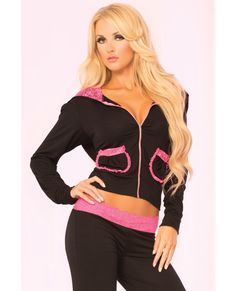 Pink Lipstick Loungewear Lace Trim Cropped Hoodie Black Sm