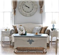 I LOVE these pics on this blog....love the huge clock! modern country.....Changes for the Family Room - Town & Country Living