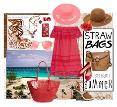 """Straw Bag and the kind of red-dress I'd wear"" by jennross76 on Polyvore featuring RHYTHM, Sea, New York, MICHAEL Michael Kors, Phase 3, Aquazzura, Ray-Ban, Dolce&Gabbana, Oscar de la Renta, Wet Seal and strawbags"