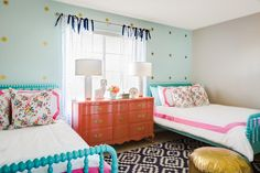 Shared Girl's Room With Aqua Accent Wall and Coral Dresse. Shared Girl's Room With Aqua Accent Wall and Coral Dresse… Girls Bedroom Furniture Sets, Diy Home Decor Bedroom Girl, Kids Bedroom, Kids Rooms, Bedroom Ideas, Teen Rooms, Bedroom Wall, Baby Rooms, Bedroom Designs