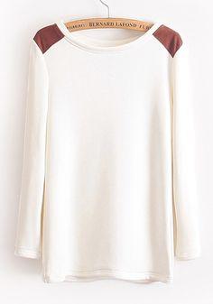 White Patchwork Long Sleeve Cotton Blend T-Shirt