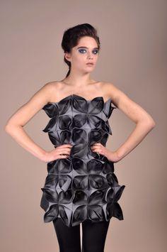 @ Sophie Marionnet - Origami Cuir #cuiraparis #bespoke Origami, Peplum Dress, Strapless Dress, Bespoke, Shoulder Dress, Studio, Skirts, Leather, Paris
