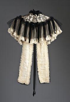 Woman's Mantelet. Henriette Favre. Paris. Circa 1902. Cotton lace, silk chiffon, silk velvet ribbon, and sequins.