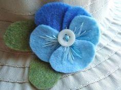 Blue felt flower pansy pin