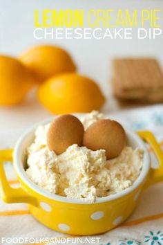 Lemon Cream Pie Cheesecake Dip recipe - a quick & easy 5 minute dessert!