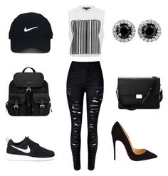 A fashion look from May 2016 featuring print shirts, skinny jeans and black sneakers. Browse and shop related looks. Nike Trainers, Aspinal Of London, Nike Golf, Crop Shirt, Distressed Jeans, Alexander Wang, Prada, Christian Louboutin, Fashion Looks