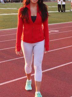 Lululemon's Currant Red Define Jacket with Quiet Stripe Wunder unders! Nike Free in Tropical Twist