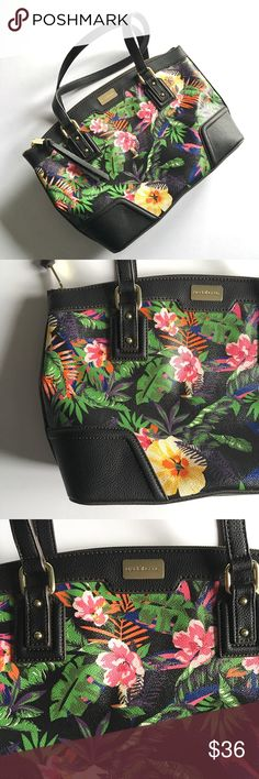 "Tropical Floral Liz Claiborne Handbag NEVER USED // Tropical Floral Liz Claiborne Handbag // Black bag with gold accents // Colors are green, pink, light pink, yellow, orange, blue, purple, white // pocket on back for large cell phone! Convenient! // interior pockets and zippered pocket // 15"" wide x 10"" tall // non-smoking home // Same Day/Next Day Shipping!! // 3.11.36.58 // Bundle Discounts Liz Claiborne Bags Shoulder Bags"