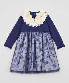 Dark Blue Floral Mesh-Overlay Dress by Baby Loo #zulily #zulilyfinds