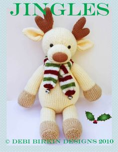 Jingles the Reindeer ... pdf e-mail toy knitting pattern by Debi Birkin. $4.50, via Etsy.