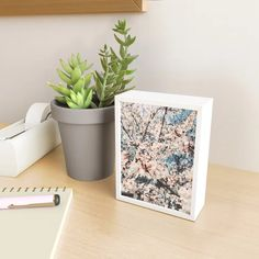 """Everything Is Temporary"""" Geometric Abstraction Framed Mini Art Print by Erin Lyons Art - Light Wood - x 4 Blossom Trees, Spring Flowers, Floating Nightstand, Planter Pots, Art Prints, Wall Art, Mini, Frame, Design"""