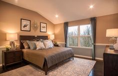 Master bedroom with vaulted ceiling; The Alistair floor plan, Drees Homes, Cleveland