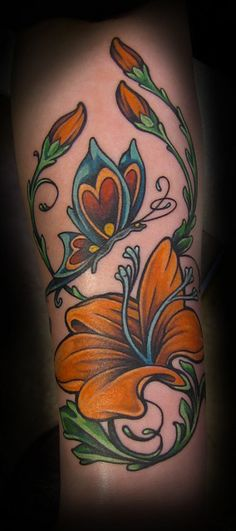 tattoo flower butterfly