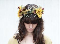 Sunflower and Wild Wheat Crown Autumn by BloomDesignStudio