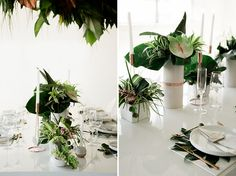 Lush Tropical Wedding Inspiration Green Wedding Shoes - Lush Tropical Wedding Inspiration Wedding July Inspired By The Urban Setting Of Los Angeles And The Tropical Summer Trends This Season Todays Wedding Inspiration Is Perfect For Th Wedding Reception Decorations, Wedding Themes, Wedding Centerpieces, Diy Wedding, Wedding Styles, Wedding Flowers, Green Wedding, Wedding Ceremony, Wedding Ideas