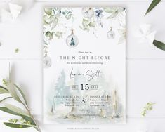Winter Wedding Rehearsal Dinner Invitations for the lucky bride and groom! This beautiful customizable rehearsal dinner invite is PURE PERFECTION! Bridal themes are hard to pick and this invite for winter weddings is simply stunning. #winterwedding #weddingrehearsal #winterbridal #bridalparty #invite #invitations #florals #flowers