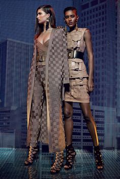 Balmain   Cruise/Resort 2016 Collection via Designer Olivier Rousteing   Modeled by Julia VanOs and Ysaunny Brito   July 6, 2015; Paris   http://Style.com