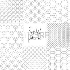 Abstract black and white simple geometric seamless patterns set, vector Stock Vector