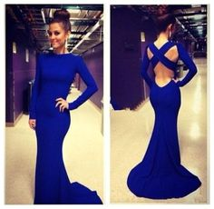New Mermaid Long Sleeve Backless Slim Bridesmaid Prom Ball Party Evening Dress #romanticbridal #Mermaid #Formal
