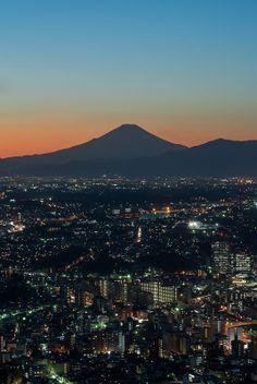 Mount Fuji from the Yokohama Landmark Tower, Kanagawa, Japan