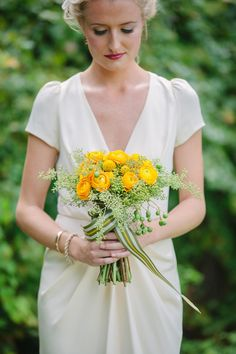 yellow and green bouquet with striped ribbon // photo by pure7studios // flowers by Myrtie Blue