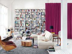 i love huge built in book shelves full of books.