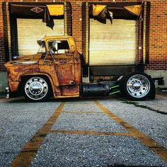 """316 Likes, 5 Comments - BROTHERS Mailorder Industries (@brotherstrucks) on Instagram: """"@_jrat slammed snub nose '57 Chevy COE on a set of 24"""" Alcoas. End of Summer Sale going on now at…"""""""