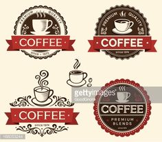View top-quality illustrations of Coffee Labels. Find premium, high-resolution illustrative art at Getty Images. Coffee Shop Menu, Coffee Shop Design, Coffee Packaging, Coffee Labels, Resturant Logo, Restaurant, Juice Cafe, Vintage Coffee Shops, Coffee Bean Logo
