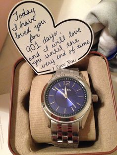 Valentines gift for my love:) watch with the number of days we've been together set to the time of our first kiss!