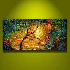 Modern Abstract Huge Wall Art Oil Painting on Canvas Art Tree No Frame Oil Painting Trees, Tree Of Life Painting, Simple Oil Painting, Oil Painting Abstract, Painting Art, Painting Portraits, Painting Lessons, Painting Frames, Abstract Canvas Art
