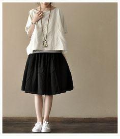 Black -Cotton Short  Skirt  Women Pleated Cotton Skirt  Women's Dress Leisure Clothing ---Woemn Clothing