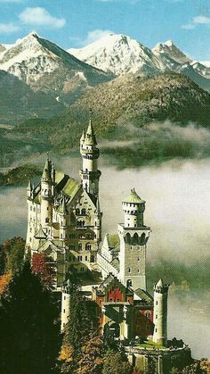 Schloss Neuschwanstein, Bavaria, Germany (The building of Ludwig's castles and palace bankrupted the region.) The pinner wrote---Schloss Neuschwanstein, home away from home for Ludwig II, King of Bavaria. Beautiful Castles, Beautiful Places, Places To Travel, Places To See, Famous Castles, Neuschwanstein Castle, Castle In The Sky, Chateaus, Medieval Castle