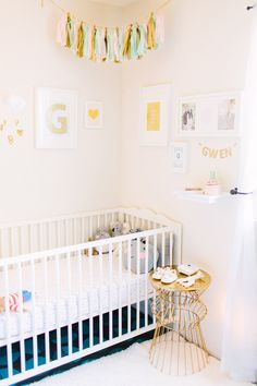 Gwendolyn and Gold nursery feature on Grey Likes Baby | gold & blush heart print by b is for bonnie design