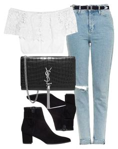 """""""Untitled #5897"""" by laurenmboot ❤ liked on Polyvore featuring Topshop, Miguelina, Stuart Weitzman and Yves Saint Laurent"""