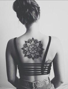 . on We Heart It #back #tattoo #woman #blackandwhite