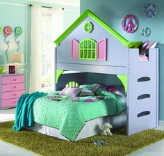Create your son or daughter's dream room with our cool bunk beds with a club house design. This twin size loft bed is as sturdy as it is fun with quality all wood construction and beautiful details. T