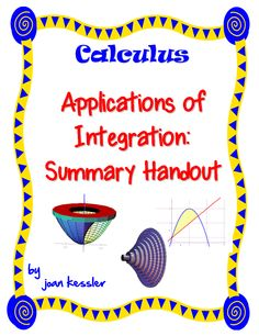 Great summary sheet for your students for the Applications of Integration Unit. Use it for AP Calculus AB, AP Calculus BC, and Calculus 2. Twelve formulas and matching graphs for each topic. Study or Flash cards. Prints well in b/w. Included on the handout: *Area Under the Curve *Area Between Curves *Volume of Revolution *Shell Method *Disc Method *Washer Method *Area of Surface of Revolution *Moments and Center of Mass *Volumes of Solids with Known Cross Sections *Arc Length $2