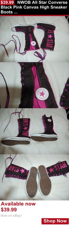 Children girls clothing shoes and accessories: Nwob All Star Converse Black Pink Canvas High Sneaker Boots Shoes Size 1 Junior BUY IT NOW ONLY: $39.99